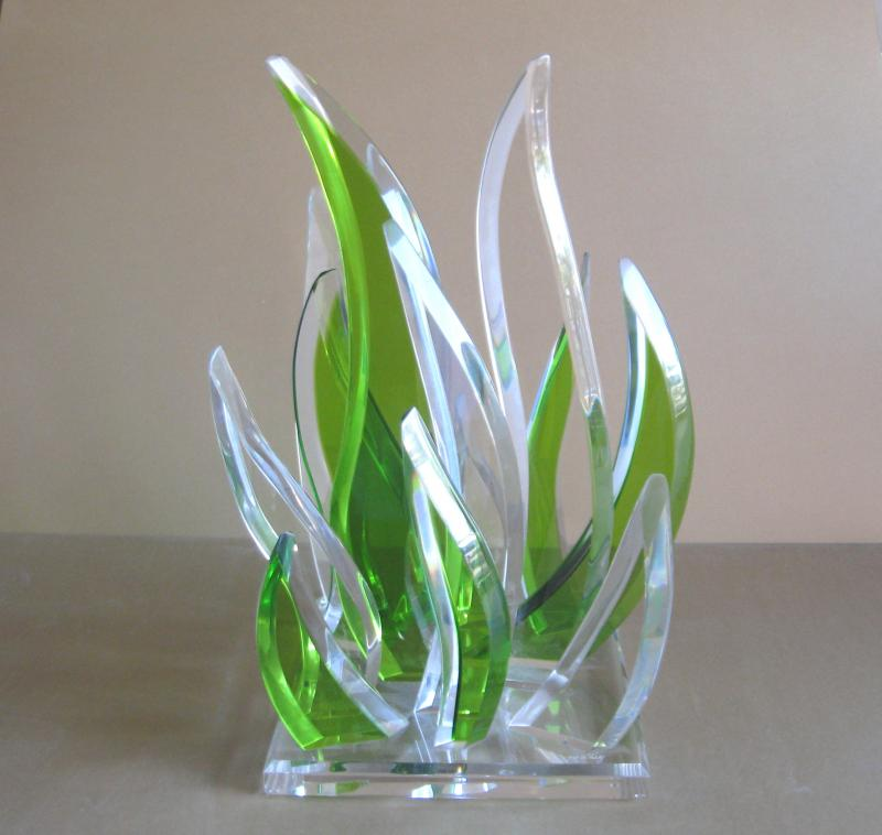Olive Green Acrylic Sculpture